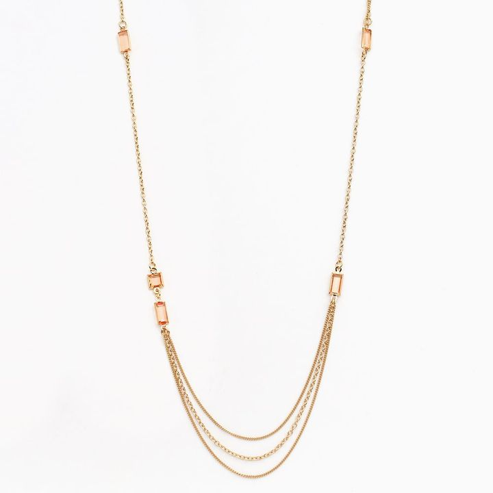 Lauren Conrad gold tone simulated crystal long swag necklace