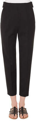 Akris High-Waist Straight-Leg Cropped Wool Pants