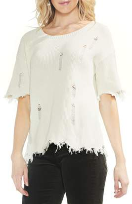 Vince Camuto Drop Shoulder Distressed Fray Hem Top