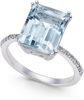 Effy Aquarius Aquamarine (3-3/4 ct. t.w.) and Diamond (1/6 ct. t.w.) Ring in 14k White Gold