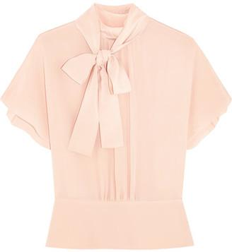 REDValentino - Pussy-bow Silk Crepe De Chine Blouse - Blush $550 thestylecure.com