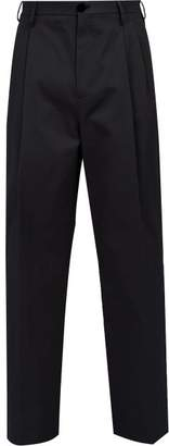 Raf Simons Wide Leg Cotton Chino Trousers - Mens - Dark Navy