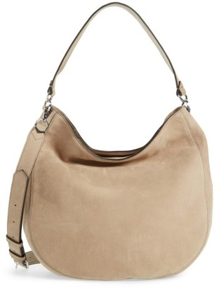 Rebecca Minkoff Convertible Nubuck Hobo With Embroidered Strap - Beige $345 thestylecure.com