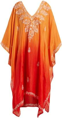 Juliet Dunn Sequin Embellished Embroidered Silk Poncho - Womens - Orange Multi