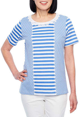 Alfred Dunner Classics Short Sleeve Round Neck Stripe T-Shirt-Womens