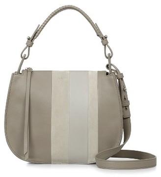 Allsaints Casey Lea Calfskin Leather & Suede Hobo - Beige $328 thestylecure.com