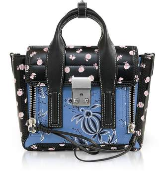 3.1 Phillip Lim Black Multi Printed Leather Pashli Mini Satchel