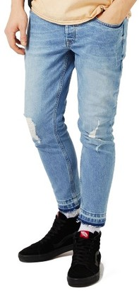 Men's Topman Ripped Cutoff Stretch Skinny Fit Jeans $75 thestylecure.com