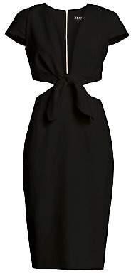 HANEY Women's Deep V-Neck Knotted Cutout Dress