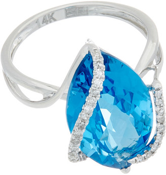 Effy Fine Jewelry 14K 7.24 Ct. Tw. Diamond & Topaz Ring