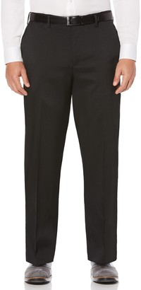 Savane Big & Tall Straight-Fit Crosshatch Stretch Flat-Front Dress Pants
