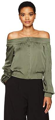 BCBGMAXAZRIA Women's Marco Off The Shoulder Woven Bomber Jacket