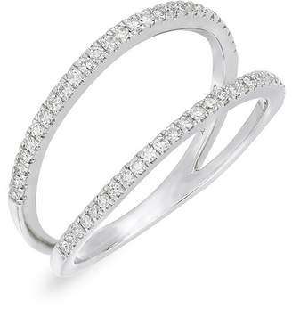 Carriere Sterling Silver Pave Diamond Double Band Ring - 0.27 ctw