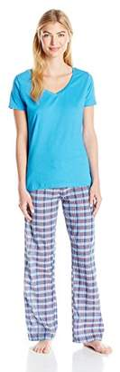 Bottoms Out Women's Knit Short Sleeve Top and Woven Pant Sleep Set