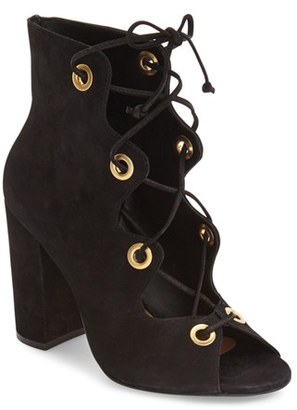 Women's Steve Madden 'Carusso' Lace-Up Peep Toe Bootie $149.95 thestylecure.com