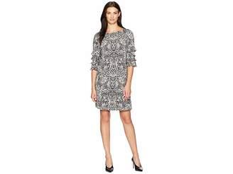 Gabby Skye Animal Ruffle Sleeve Dress Women's Dress