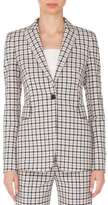 Akris Punto One-Button Long-Sleeve Flap-Pockets Tailored Glen-Check Blazer