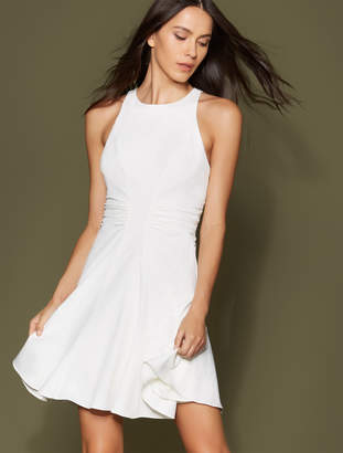 Halston Ruched Waist Crepe Dress
