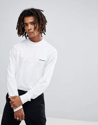 Carhartt WIP Long Sleeve High Neck Script T-Shirt In White