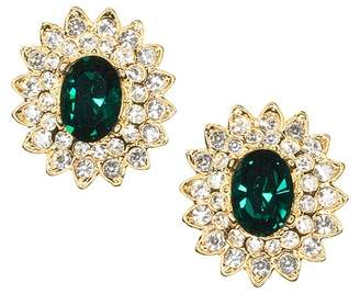 Kenneth Jay Lane Gold And Crystal Setting Emerald Stone Center Clip Earring
