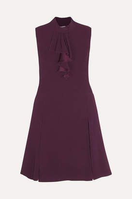 Prada Lace-trimmed Ruffled Crepe Dress - Merlot