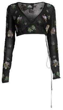 Marc Jacobs Redux Grunge Silk Chiffon Floral Crop Blouse