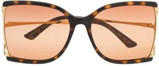 Gucci tortoiseshell-effect oversized square sunglasses
