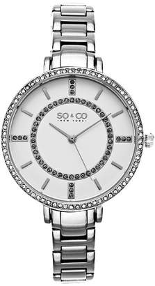 Co SO & Ny Women's Soho Stainless Steel Thin Bracelet Crystal Filled Bezel Dress Quartz Watch J155P41