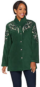 Bob Mackie Bob Mackie's Embroidered Fleece Jacket withQuilted Collar