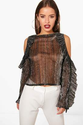 boohoo Petite Jess Shimmer Micro Ruffle Cold Shoulder Top