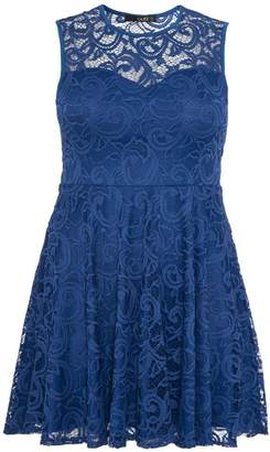 Quiz Curve Blue Lace Sweetheart Neck Skater Dress