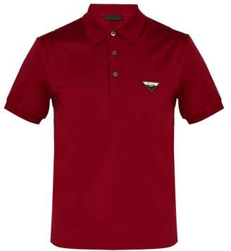 Prada Logo Patch Cotton Jersey Polo Shirt - Mens - Red