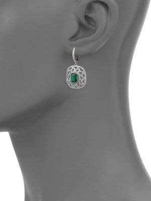 Effy 14K White Gold Diamonds Emerald Drop Earrings