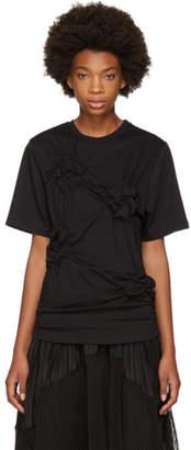 Simone Rocha Black Smocked Flower T-Shirt
