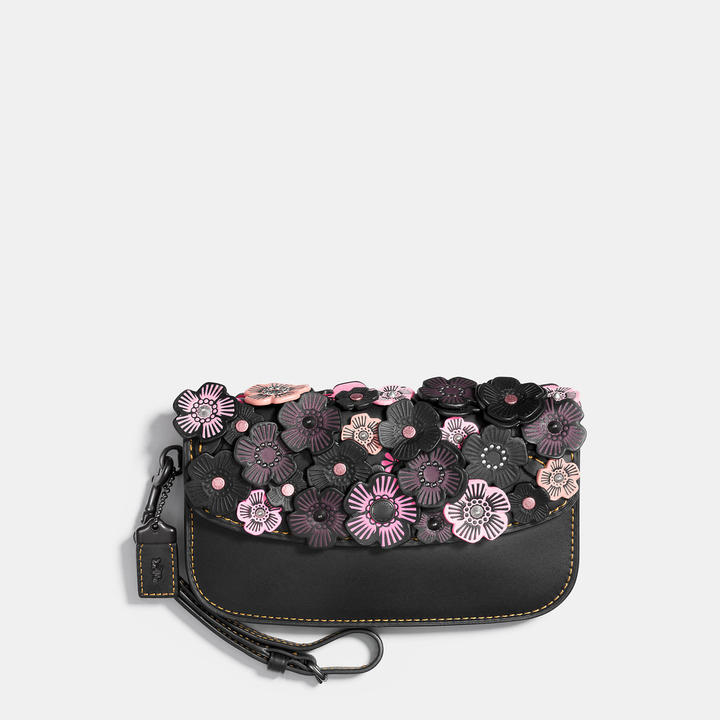 Coach   COACH Coach Small Clutch In Glovetanned Leather With Tea Rose