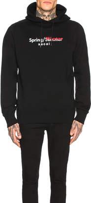 Sacai Sweat Printed Hoodie in Black | FWRD