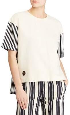 Lauren Ralph Lauren Stripe-Sleeve Drop-Shoulder Tee