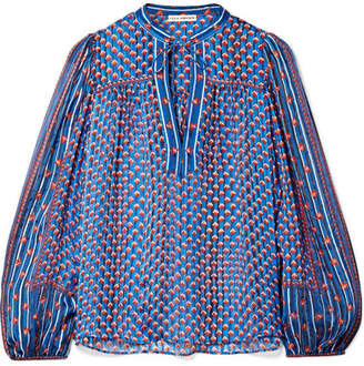 Ulla Johnson Constance Printed Silk-jacquard Blouse - Blue