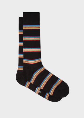Paul Smith Men's Black Multi-Coloured Block Stripe Socks