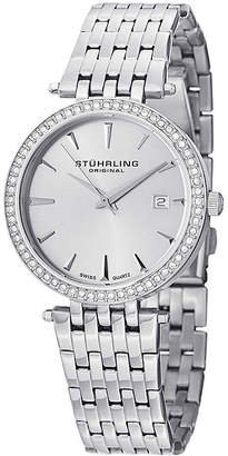 Stuhrling Original Sthrling Original Womens Crystal-Accent Stainless Steel Bracelet Watch