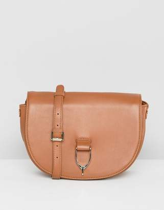 Paul Costelloe real leather saddle buckle cross body/shoulder bag