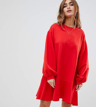 Asos DESIGN Petite super oversized sweat dress with pephem