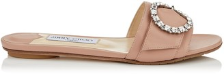 Jimmy Choo GRANGER FLAT Ballet Pink Nappa Leather Mules with Crystal Buckle