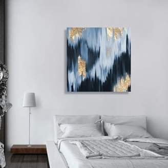 Mercury Row 'Gold Blue Fall' Framed Oil Painting Print on Wrapped Canvas