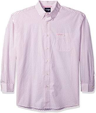 Wrangler Men's Tough Enough to Wear Pink Long Sleeve Button Front Shirt