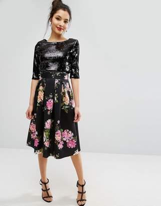 Asos Dark Floral Scuba Prom Skirt
