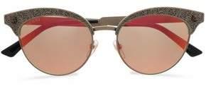 Gucci Cat-eye Printed Gold-tone Mirrored Sunglasses