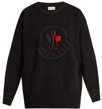 Moncler Logo Embroidered Wool Blend Sweater - Womens - Black