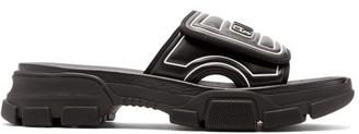 Gucci Rubber Logo Leather Slides - Mens - Black