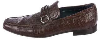 Salvatore Ferragamo Crocodile Gancini Loafers